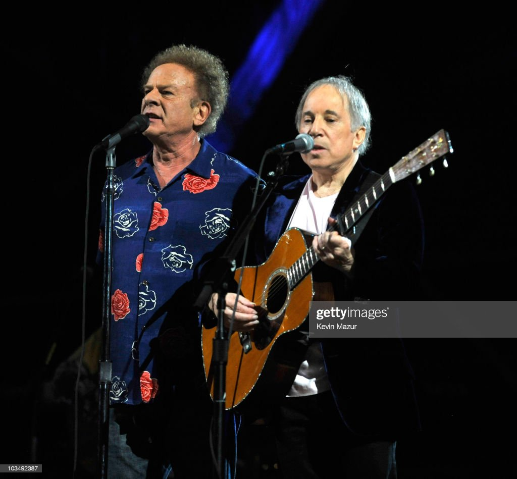Art Garfunkel and Paul Simon of Simon and Garfunkel perform on stage for the 25th Anniversary Rock & Roll Hall of Fame Concert at Madison Square Garden on October 29, 2009 in New York City.