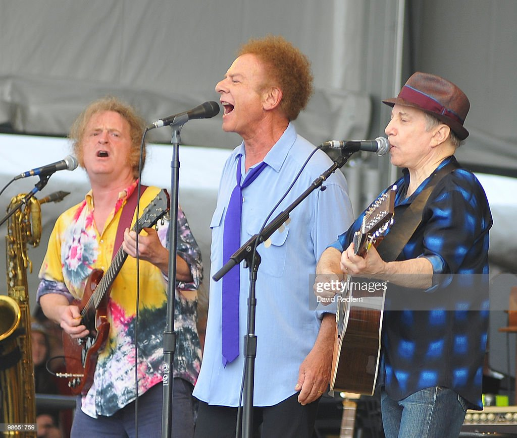 Art Garfunkel Paul Simon perform on stage on day two of New Orleans Jazz & Heritage Festival on April 24, 2010 in New Orleans, Louisiana.