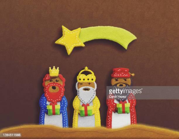 art handmade product the three wise men in felt -  キリスト教 伝来の地  ストックフォトと画像