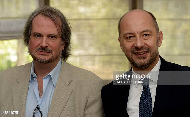 Art historian and the founder of the Pinacotheque de Paris museum Marc Restellini and France's Ambassador to India Francois Richierat pose for a...