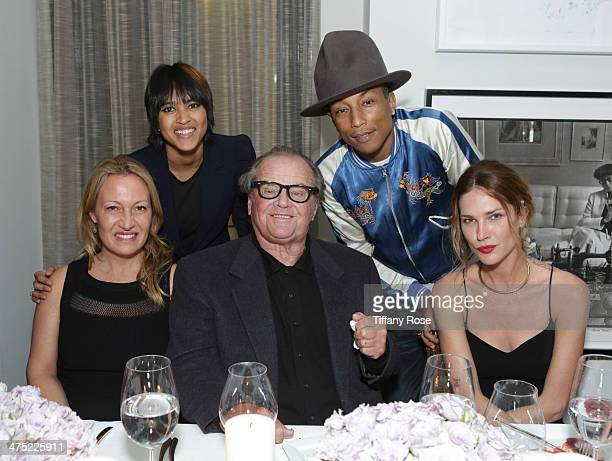 Art historian Diana Picasso Helen Lasichanh actor Jack Nicholson recording artist Pharrell Williams and model Erin Wasson attend VIOLET GREY Honors...