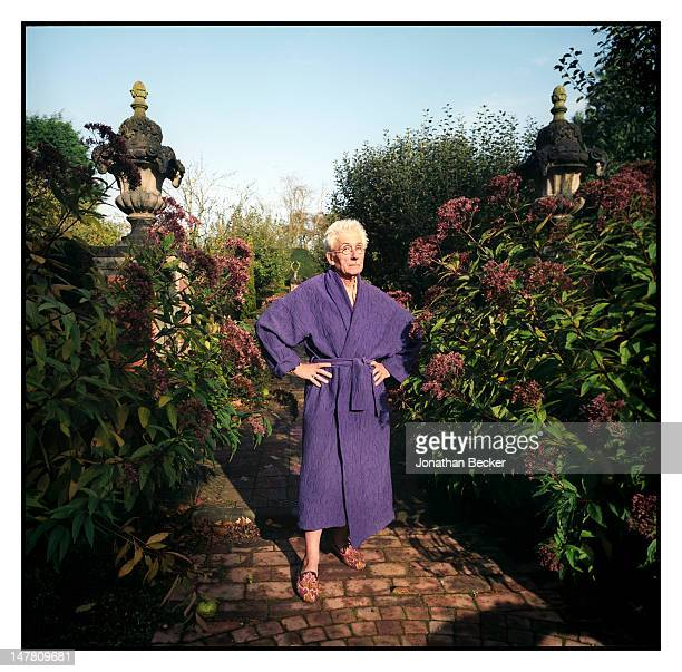 Art historian/landscape designer Sir Roy Strong poses for Tatler Magazine on October 24 2008 at the Laskett in Herefordshire England PUBLISHED IMAGE