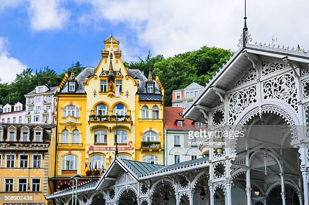art in architecture - karlovy vary stock pictures, royalty-free photos & images