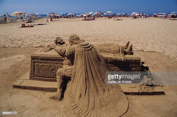 Art in the sand Benidorm Alicante Image of a ´sculpture´ of sand in the beach of the tourist megacity