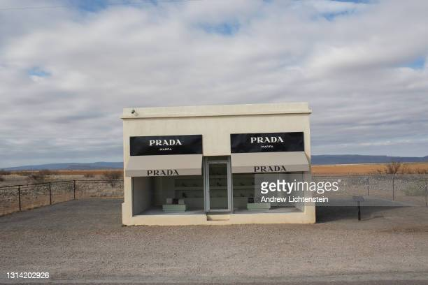 Art installation, built to mimmic a Prada store, decorates the desolate landscape of west Texas on April 18, 2021 outside of the artist community of...