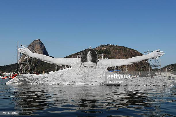 Art installation is seen near the beachfront on Day 12 of the Rio 2016 Olympic Games at Marina da Gloria on August 17 2016 in Rio de Janeiro Brazil