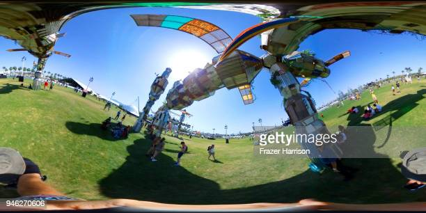 Art installation Palm3 World Station by Simon Vega is seen during the 2018 Coachella Valley Music And Arts Festival at the Empire Polo Field on April...