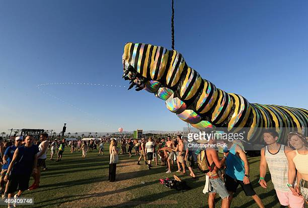 Art installation Papilio Merraculous by Poetic Kinetics is seen during day 2 of the 2015 Coachella Valley Music Arts Festival at the Empire Polo Club...