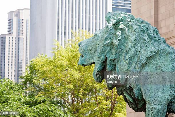 art institute lion - art institute of chicago stock pictures, royalty-free photos & images