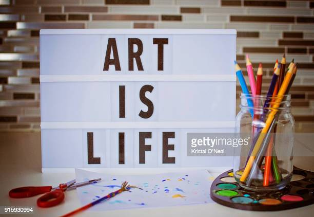 art is life - lightbox stock photos and pictures