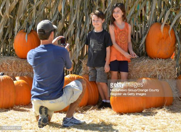 BEACH CALIF USA Art Johnson takes a picture of his children Ava Johnson left and Colin Johnson at Pa's Pumpkin Patch in Long Beach Calif on October 3...