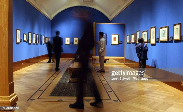 Art lovers take a look at Leonardo Da Vinci The Divine and the Grotesque' Exhibition at the Queen's Gallery Buckingham Palace London prior to...