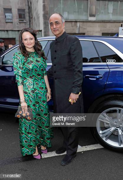 Art Malik and daughter Jessica arrive in an Audi at the Olivier Awards 2019 at Royal Albert Hall on April 07 2019 in London England