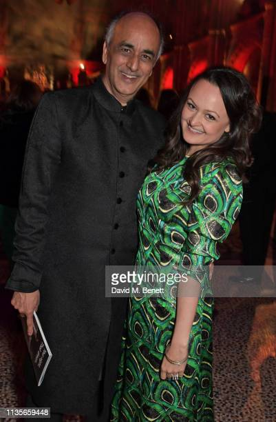 Art Malik and Jessica Malik attend The Olivier Awards 2019 after party at The Natural History Museum on April 7 2019 in London England