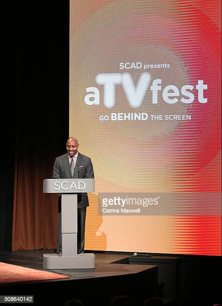 Art Malloy dean of student success at SCAD Atlanta speaks on stage during Icon Award Spotlight Cast Award presentations during aTVfest 2016 presented...