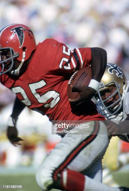 Art Malone of the Atlanta Falcons of the Atlanta Falcons carries the ball against the New Orleans Saints during an NFL football game November 12 1972...