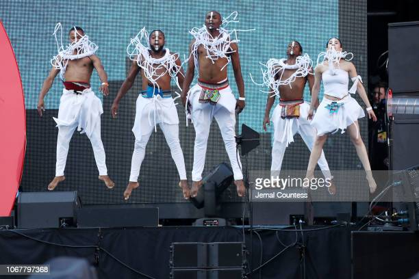 Art Moment Unity perform during the Global Citizen Festival Mandela 100 at FNB Stadium on December 2 2018 in Johannesburg South Africa