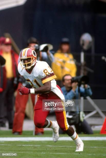 Art Monk of the Washington Redskins in action against the Atlanta Falcons during an NFL football game November 10 1991 at RFK Stadium in Washington...