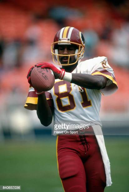 Art Monk of the Washington Redskins warms up during pregame warm ups prior to the start of an NFL football game against the Atlanta Falcons November...