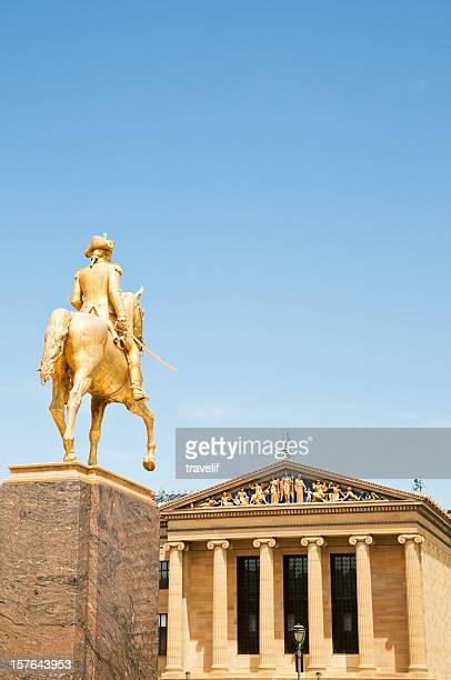 art museum and wayne monument in philadelphia - american revolution stock pictures, royalty-free photos & images