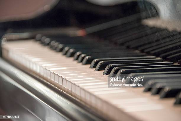Art music and hobbies Closeup of piano keyboard showing its shiny black and white keys