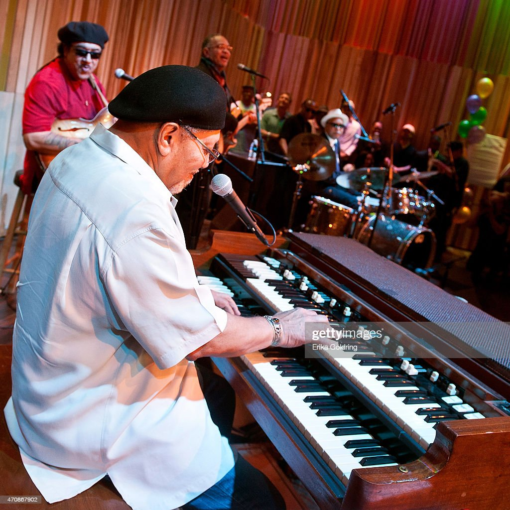 Art Neville, Leo Nocentelli, George Porter Jr and Joseph 'Zigaboo' Modeliste of the original The Meters perform during the Jazz Fest Postal Cachet unveiling at the George and Joyce Wein Jazz & Heritage Center on April 23, 2015 in New Orleans, Louisiana.