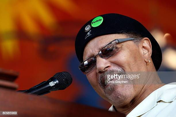 Art Neville sings with The Neville Brothers during the New Orleans Jazz and Heritage Festival at the Fair Grounds Race Course on May 4, 2008 in New...