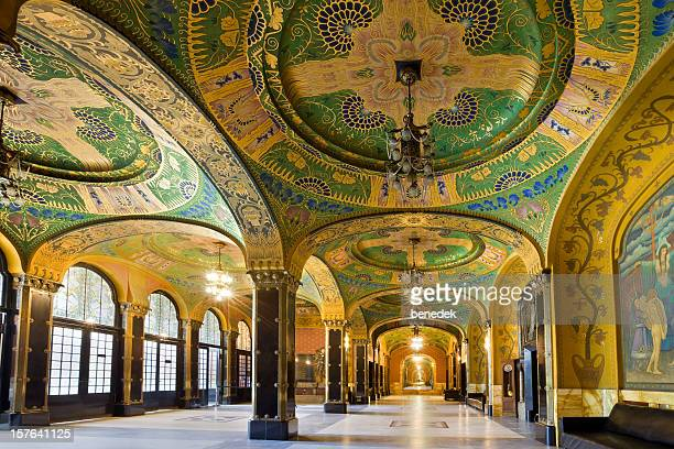 art nouveau architecture interior targu mures romania cultural palace - palace stock pictures, royalty-free photos & images