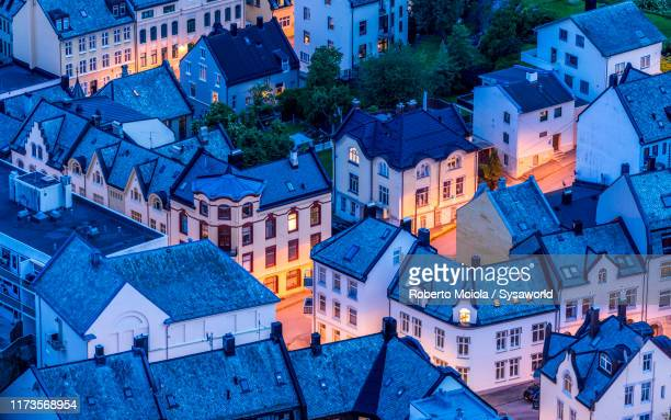 art nouveau buildings from above, alesund, norway - norway stock pictures, royalty-free photos & images