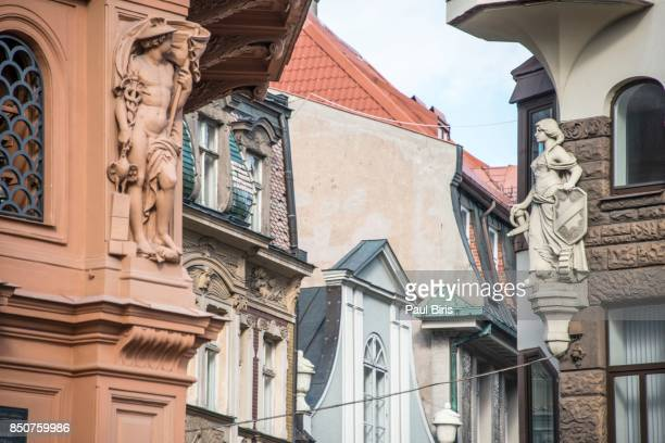 Art Nouveau decoration in Riga's old town,  Latvia, Baltic States, Europe