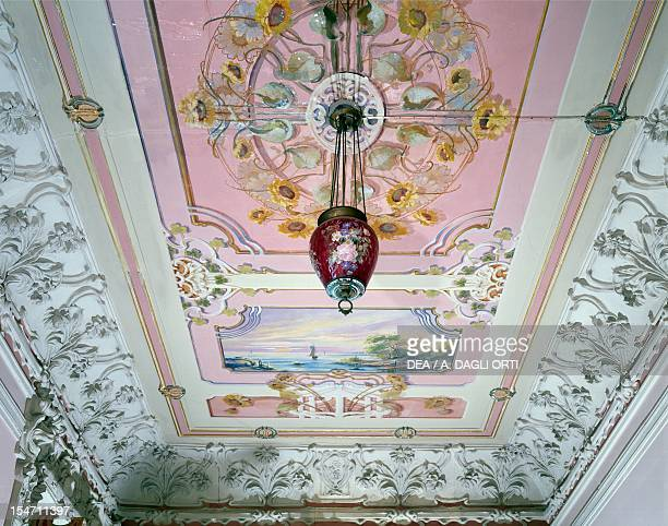 Art Nouveau decoration with paintings and stucco by Giuseppe Brega ceiling of the Sunflowers Room Ruggeri Vilino Pesaro Marche Detail Italy 20th...