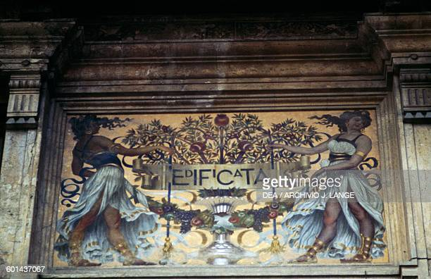 Art Nouveau decorative elements on the facade of Castelli's Palace Teramo Abruzzo Italy 20th century