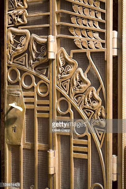 art nouveau details of the meran hotel, prague, czechoslovakia, czech republic, europe - art nouveau stock pictures, royalty-free photos & images