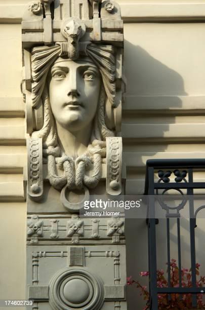 Art Nouveau district Riga Latvia Baltic states Architectural detail of building in the Art Nouveau district of Riga