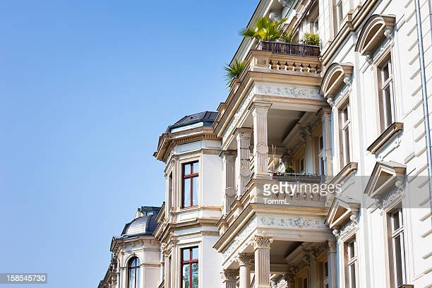 art nouveau facade, leipzig - art nouveau stock pictures, royalty-free photos & images