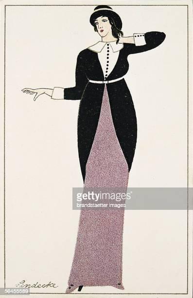 Art Nouveau fashion Wiener Werkstaette post card No 848 Coloured lithgraph Around 1913 [JugendstilMode Modekarte Wiener WerkstaettePostkarte No 848...