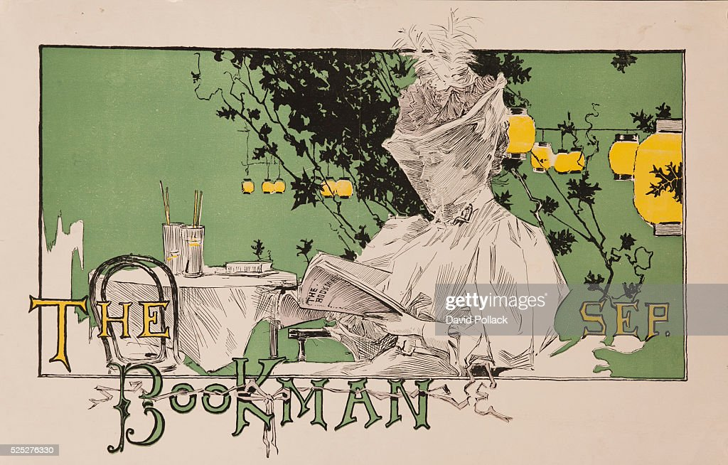 The bookman american literary magazine poster pictures getty images art nouveau illustration of veiled woman reading the september issue of the bookman illustrated by gumiabroncs Choice Image
