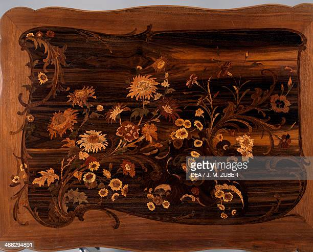 Art Nouveau Louis XV style writing desk in carved and inlaid wood signed by Emile Galle France late 19th century Detail