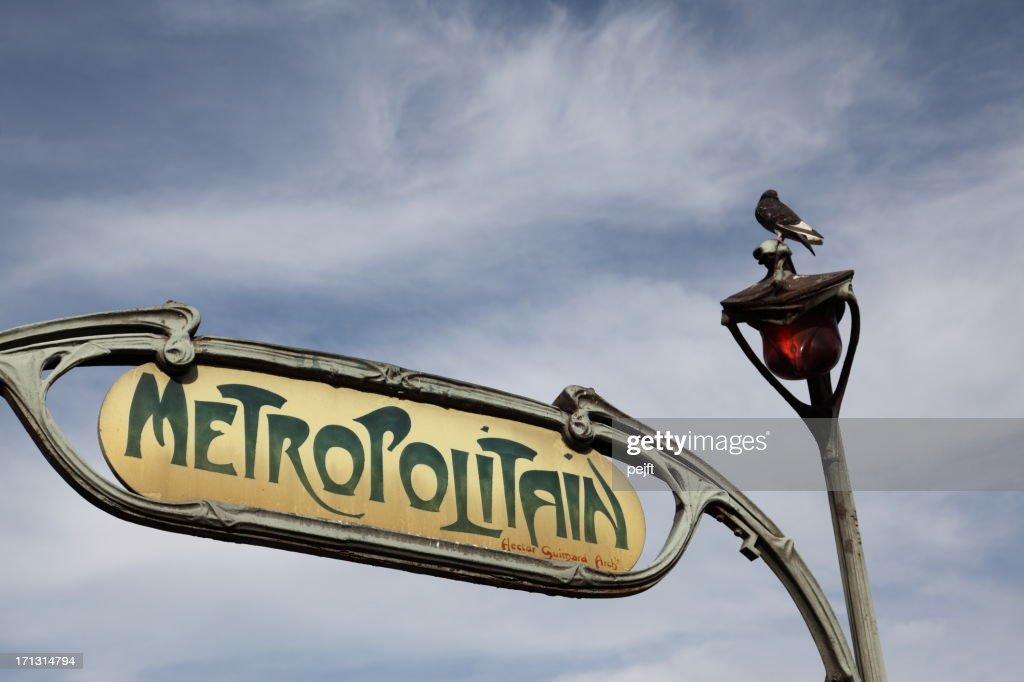 Art Nouveau metro sign, Paris : Stock Photo