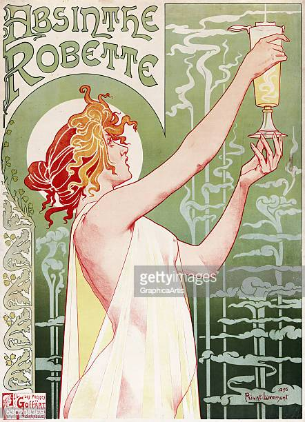 Art Nouveau poster 'Absinthe Robette' with a beautiful woman holding a glass of absinthe by Henri PrivatLivemont 1896