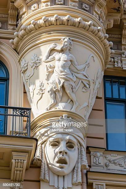art nouveau style architecture locally known as jugendstil, riga, latvia, europe - art nouveau stock pictures, royalty-free photos & images