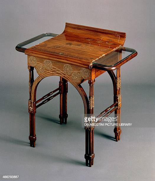 Art Nouveau style Indian walnut writing desk by Eugenio Quarti Italy 19th century