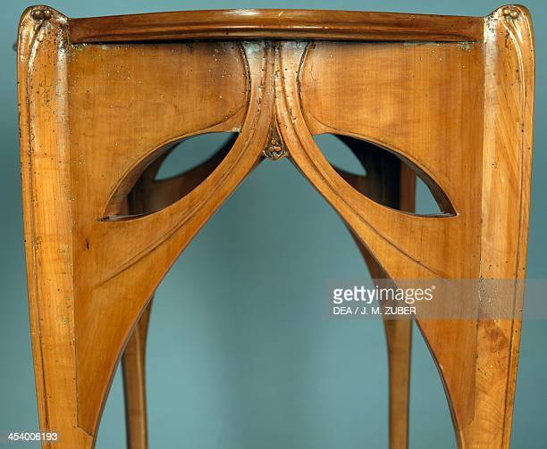 Art Nouveau style table by Hector Guimard pear wood Detail France 20th century