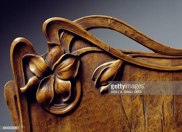 Art Nouveau style table carved walnut Detail France 20th century