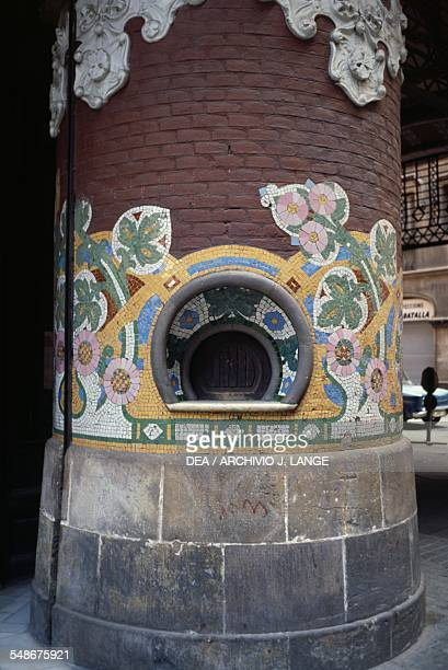 Art Nouveaustyle mosaic decoration on a column in the Palace of Catalan Music Barcelona Catalonia Spain