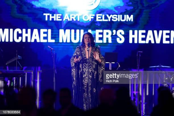 Art of Elysium founder Jennifer Howell speaks onstage during Michael Muller's HEAVEN presented by The Art of Elysium on January 5 2019 in Los Angeles...