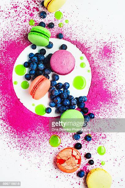 Art of food patterns (with macarons and blueberry)