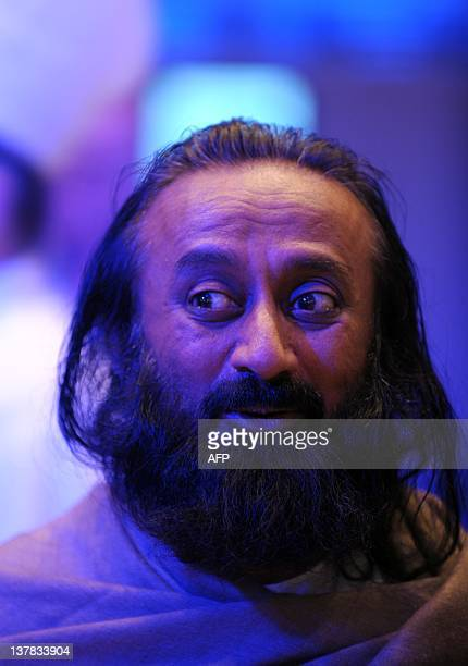Art of Living Foundation leader Shri Ravi Shankar listens to participants at the the World Economic Forum on January 28 2012 in Davos More than 2600...