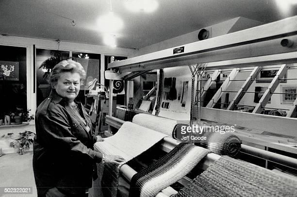 Art of weaving Helen Gregor works in her Toronto studio Her Cranbrook loom is custommade Inset Gregor's Wall No 5 tapestry is made of wool and...