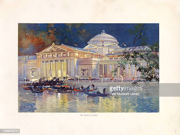 Art Palace at Night Color plate by Charles S Graham from 'The World's Fair in Water Colors' Size of original document approximately 88 x 11 inches...